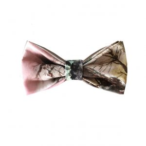 brown and pink bow tie