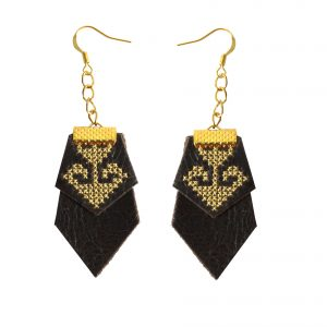 black leather designer earrings