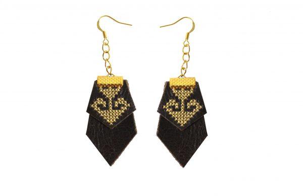 black leather designer earrings
