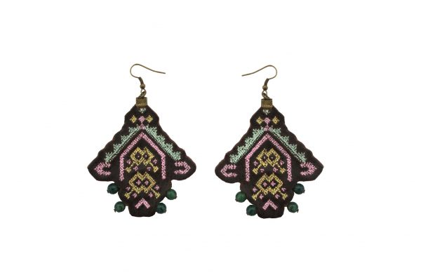 Brown leather ethnic earrings