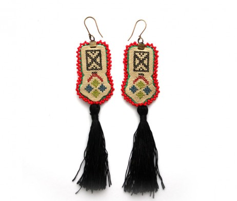Red Beaded Leather Earrings with tassel